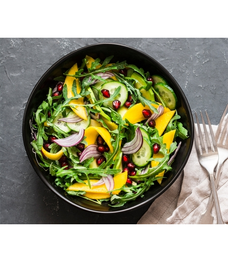Salada de Rúcula com Manga e Canela